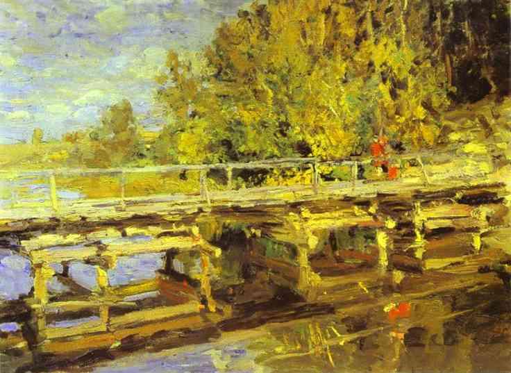 Oil painting: Autumn. On Bridge. Oil on canvas. The Russian Muse