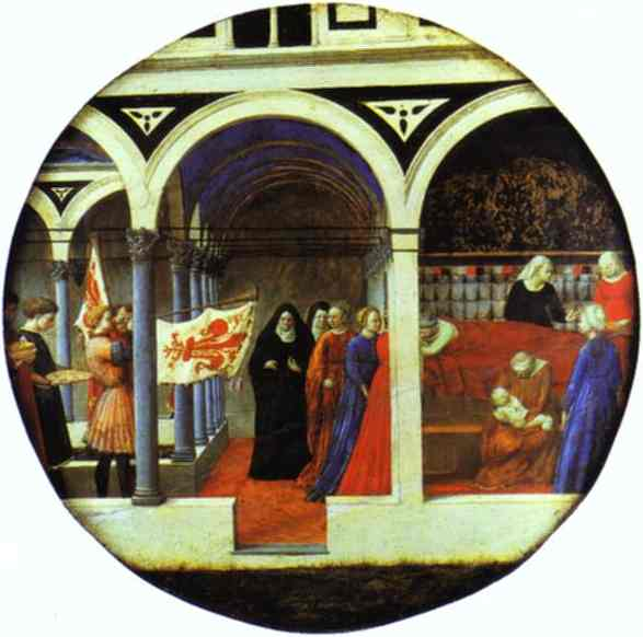 Oil painting:Birth Salver. c.1420