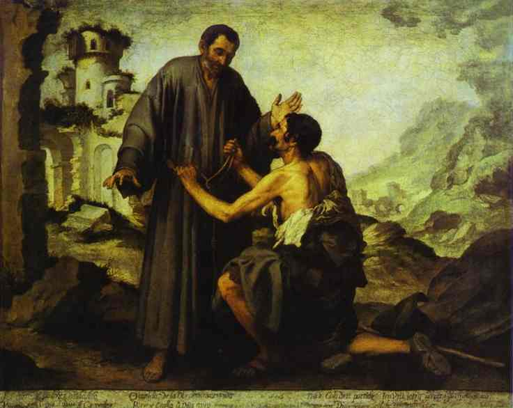 Oil painting:Brother Juniper and the Beggar. Oil on canvas. Louvre, Paris, France.