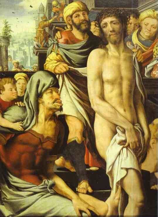 Oil painting:Christ Mocked. Detail. c. 1500