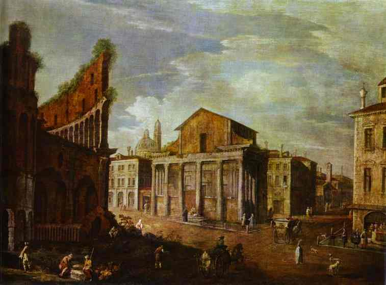 Oil painting:Church of St. Antony and St. Phaustina in Rome. c. 1749