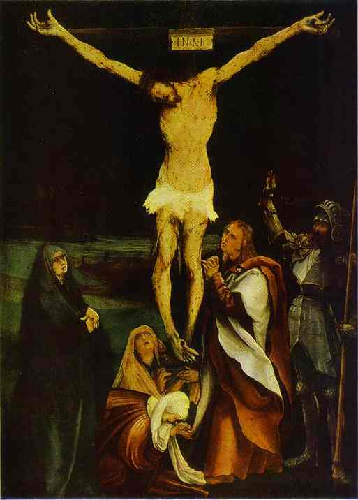 Oil painting:Crucifixion. c.1510