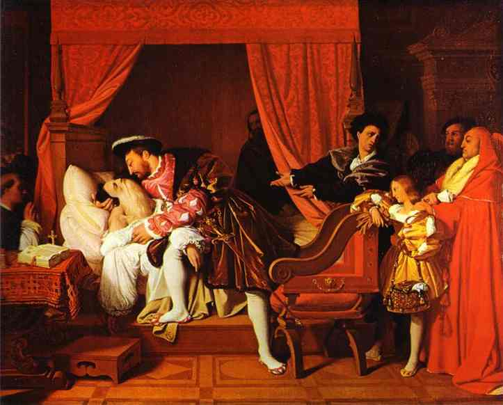 Oil painting:Death of Leonardo da Vinci. 1818