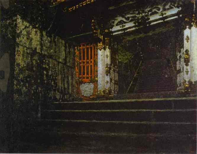 Oil painting:Entrance to a Temple in Nikko.