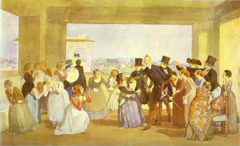 Oil painting:Festival in Rome in October. Scene in the Loggia. (Asking to Dance). 1842