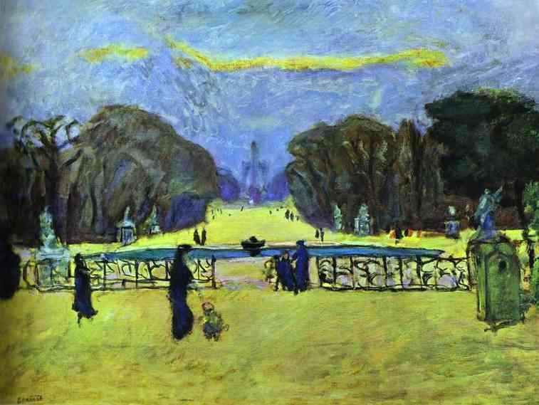 Oil painting:Gardens of Tuileries. 1912