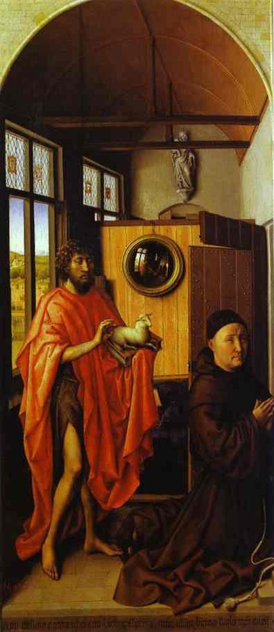 Oil painting:Heinrich von Werl and St. John the Baptist. 1438
