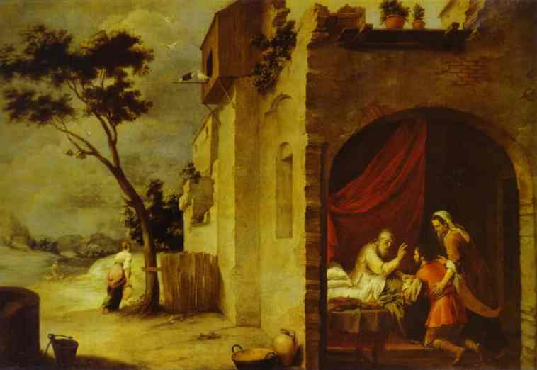 Oil painting:Isaac Blessing Jacob. 1665