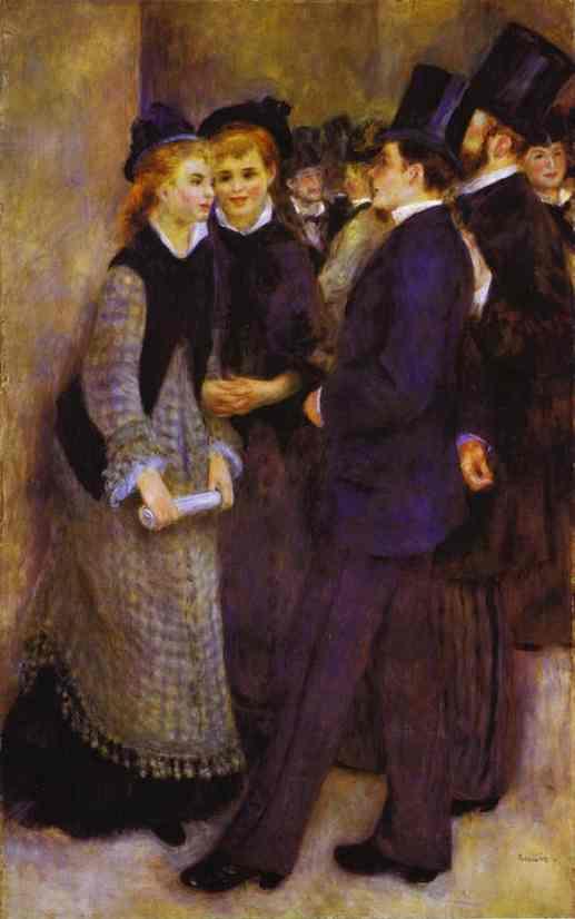 Oil painting:La sortie du Conservatoire. c. 1876