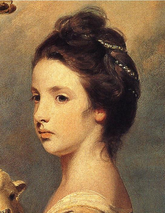 Oil painting:Lady Mary Leslie. Detail. 1764