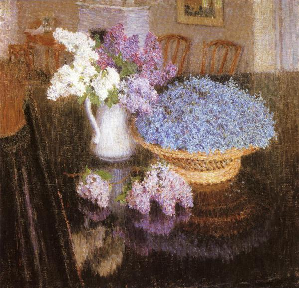 Oil painting:Lilacs and Forget-Me-Nots. 1905