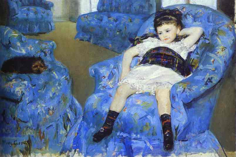 Oil painting:Little Girl in a Blue Armchair. 1878