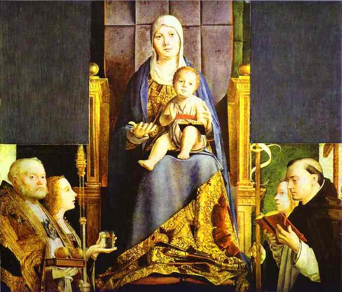 Oil painting:Madonna with the Saints Nicholas of Bari, Anastasia, Ursula and Dominic (San Cassiano