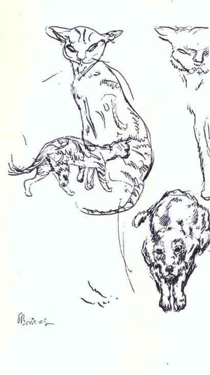 Oil painting:My Companions, sketches for illustrations of Histoires naturelles.