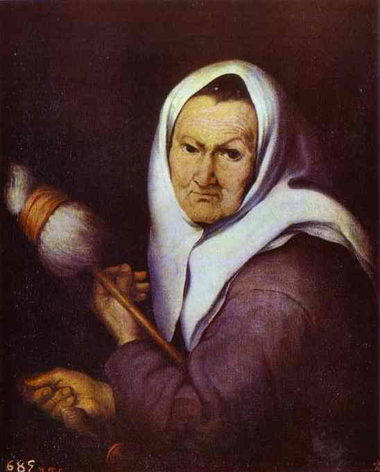 Oil painting:Old Woman with a Distaff. c. 1642