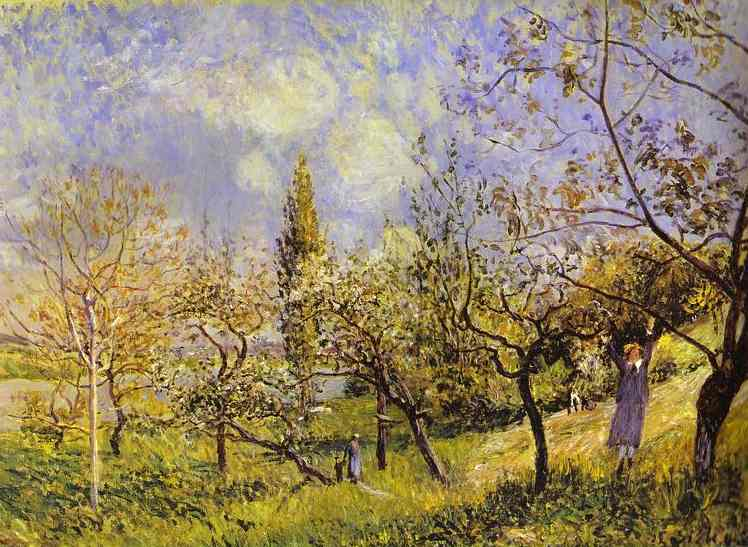 Oil painting:Orchard in Spring - By. 1881