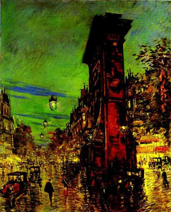Oil painting: Paris. Saint Denis Arc. 1930