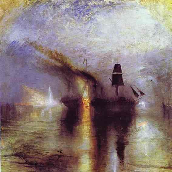 Oil painting:Peace - Burial at Sea. 1842