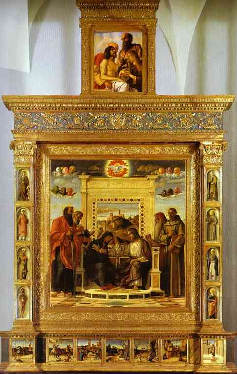 Oil painting:Pesaro Altarpiece. Photomontage: Coronation of t