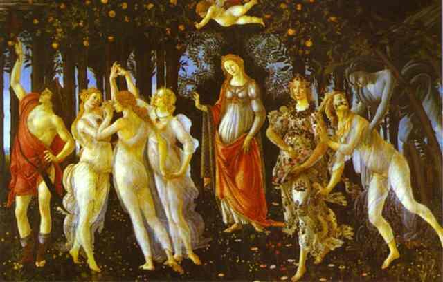Oil painting:Primavera. c.1482