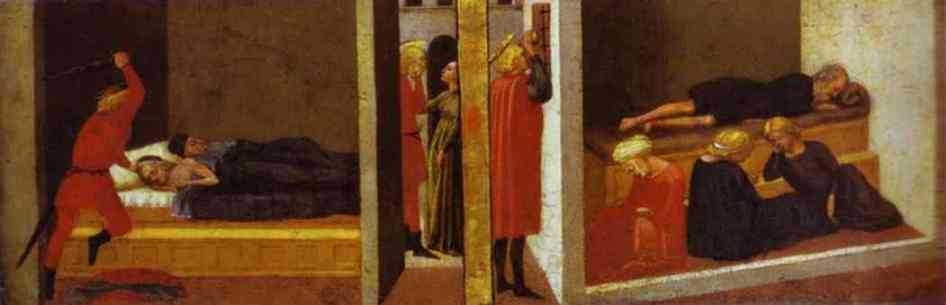 Oil painting:St. Julian Slaying His Parents. St. Nicholas Saving Three Sisters From Prostitution.