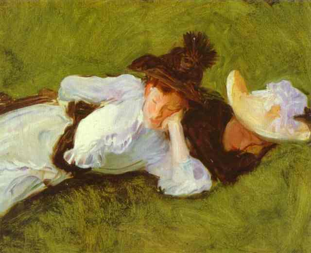 Oil painting:Two Girls on a Lawn. c. 1889