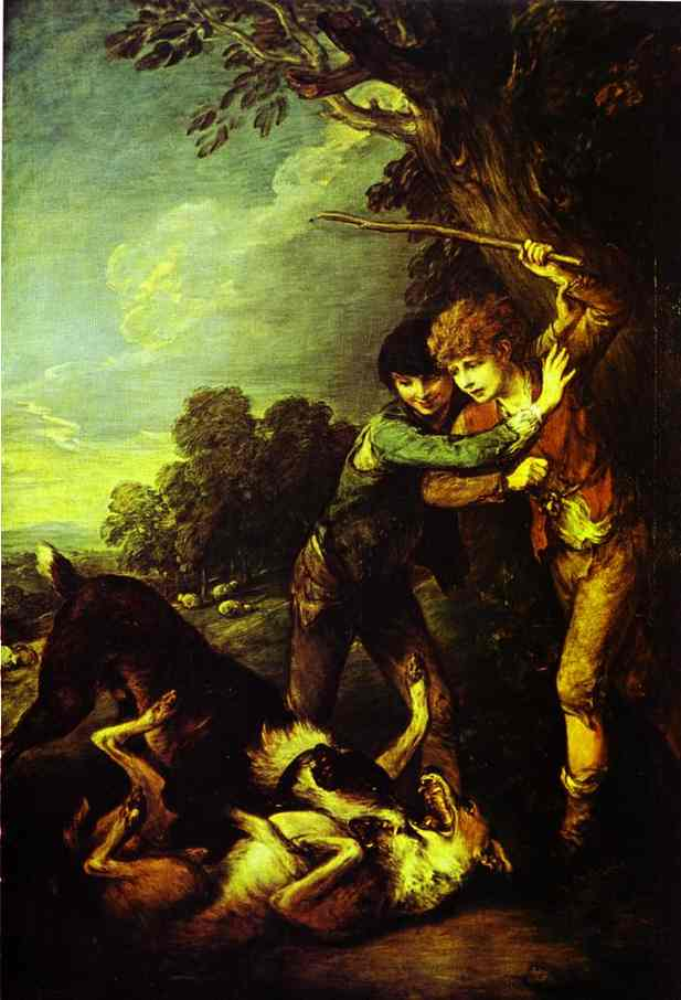 Oil painting:Two Shepherd Boys with Dogs Fighting. Exhibited R.A. 1783