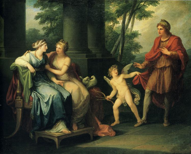 Oil painting:Venus Persuades Helen to Fall in Love with Paris.
