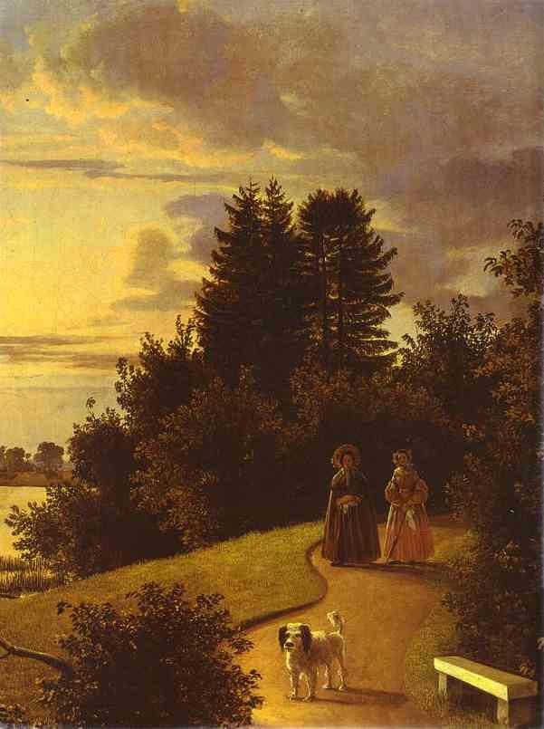 Oil painting:View on Yelagin Island in St. Petersburg. Detail. 1839