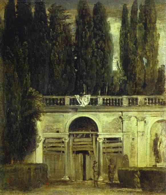 Oil painting:Villa Medici in Rome (Pavillion of Ariadne). 1630