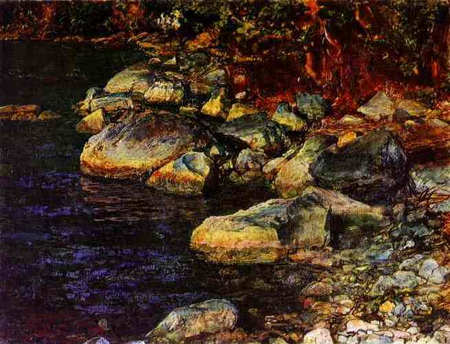 Oil painting:Water and Stones Near Palacculo. 1850