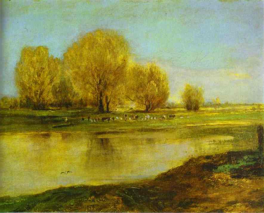 Oil painting:Willows by a Pond. 1872