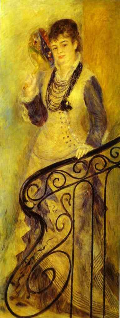 Oil painting:Woman on a Staircase (Femme sur un escalier). c. 1876