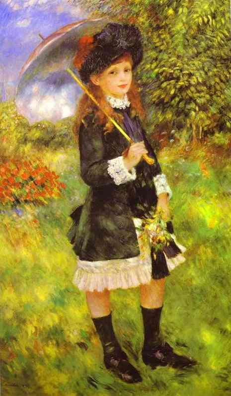Oil painting:Young Girl with Parasol (Aline Nunes). 1883