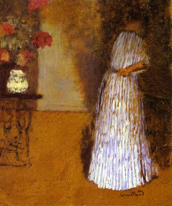 Oil painting:Young Woman in a Room/Jeune femme dans une chambre. c. 1892