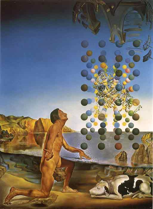 Oil painting for sale:Dali Nude Contemplating before the Five Regular Bodies 1954