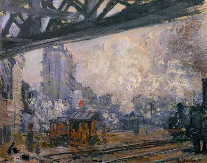 Oil painting for sale:Exterior View of the Saint-Lazare Station , 1877