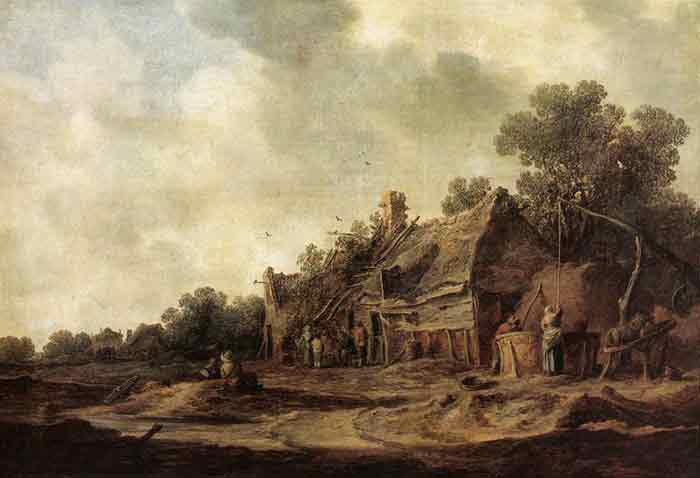 Oil painting for sale:Peasant Huts with a Sweep Well, 1633