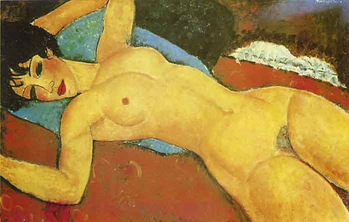 Oil painting for sale:Sleeping Nude with Arms Open( Red Nude ), 1917