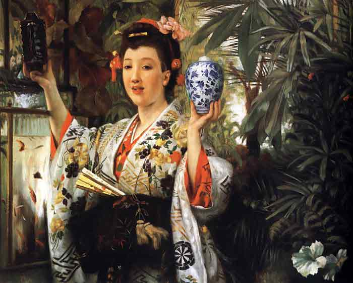 Oil painting for sale:Young Lady Holding Japanese Objects, 1865