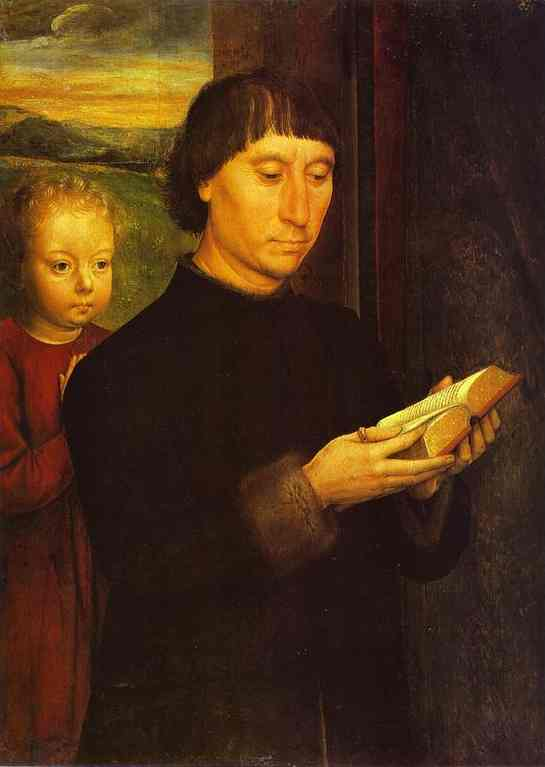 Oil painting:Portrait of a Reading Man. c. 1485