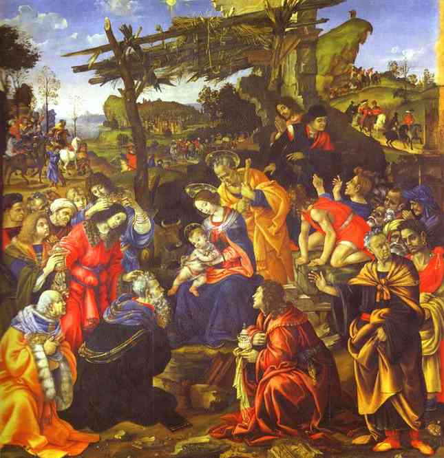 Oil painting:The Adoration of the Magi. c.1496