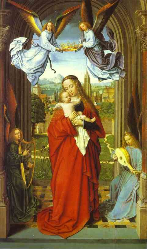 Oil painting:Virgin and Child with Four Angels. ca. 1505