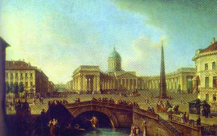 Oil painting:View of the Kazan Cathedral in St. Petersburg. 1811