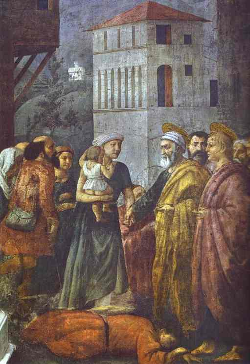 Oil painting:Distribution of the Goods of the Community and the Death of Ananias. 1425