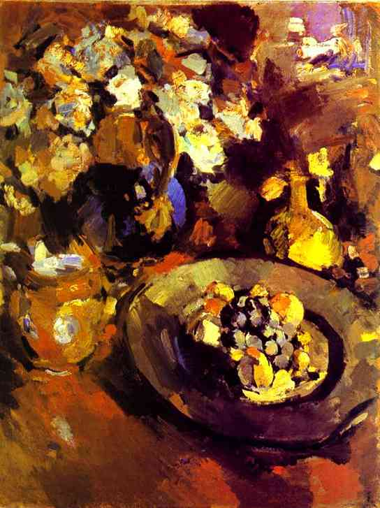 Oil painting: Still Life with Fruit and Bottle. 1930