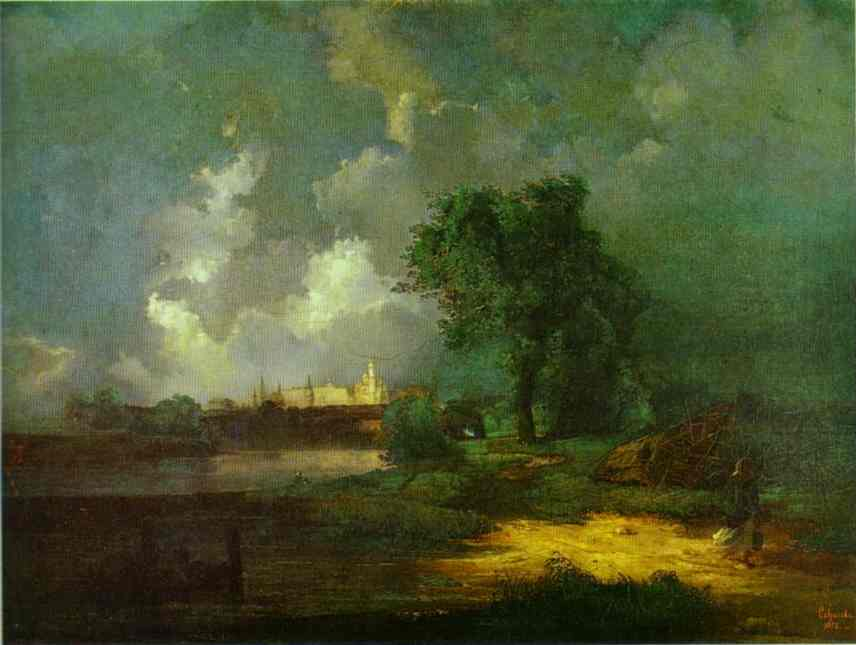 Oil painting:View of the Kremlin from the Krimsky Bridge in the Inclement Weather. 1851
