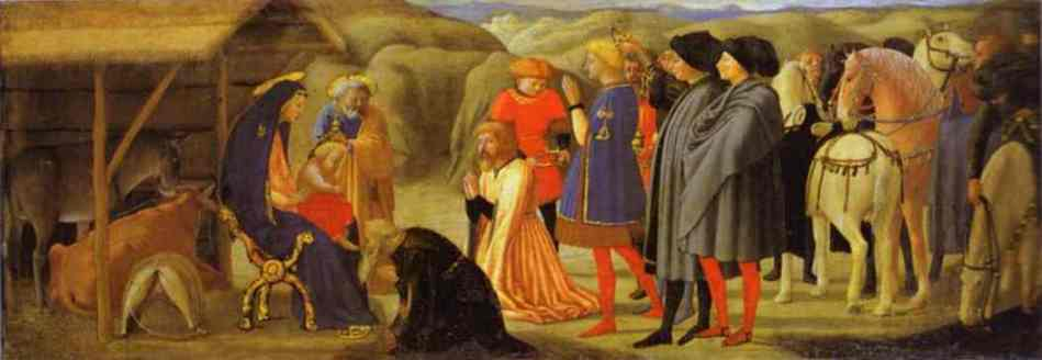 Oil painting:The Adoration of the Magi. Predella from the Pisa Altar. 1426