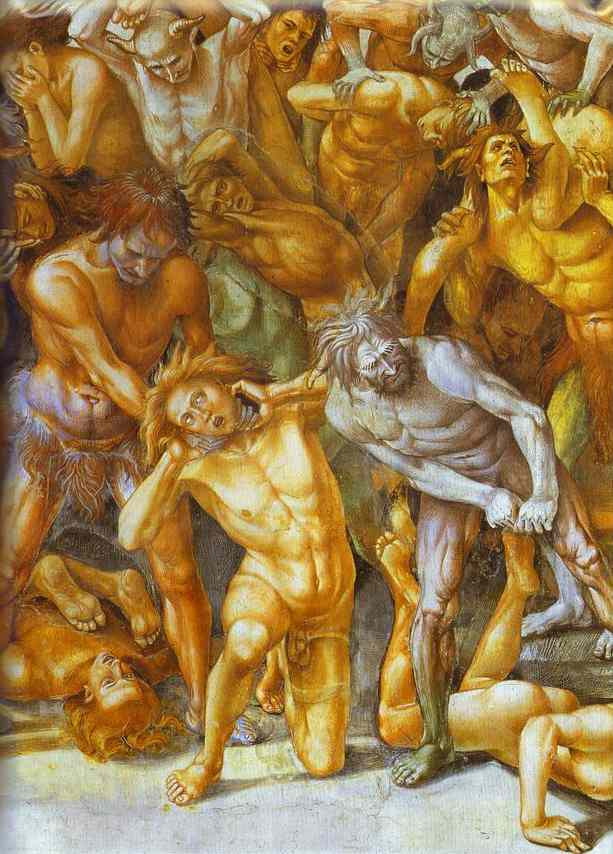 Oil painting:The Hell. Detail. Fresco. 1499-1502