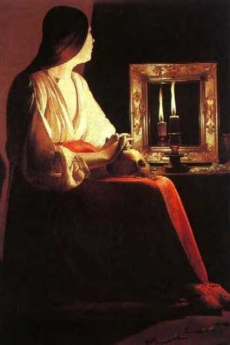 Oil painting:Repenting Magdalene, also called Magdalene and Two Flames or Magdalene Wrigtsman. Late